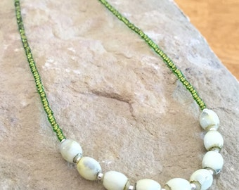 Green necklace, layering necklace, statement necklace, seed bead necklace, oval glass beads, sterling silver necklace, gift for her