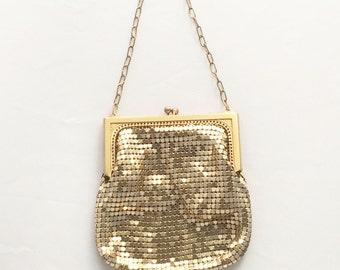 Whiting Davis Gold Mesh Small Purse Vintage Gold Small Handbag