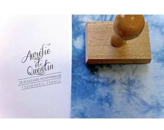 Tampon adresse sur mesure Aurélie & Quentin, tampon adresse personnalisé, tampon adresse papeterie mariage, tampon personnalisé sur mesure,