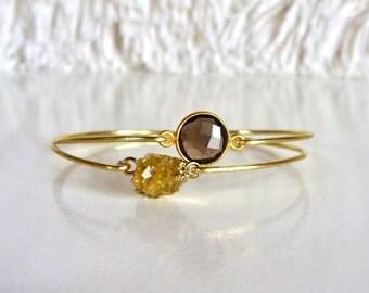 Smokey Quartz Bracelet // Druzy Citrine Quartz Bracelet // 14K Gold Filled Bangle // Gold gemstone bangle