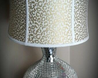 cheetah lamp large gold and white cheetah print fabric drum lamp shade fabric bow white - Large Lamp Shades