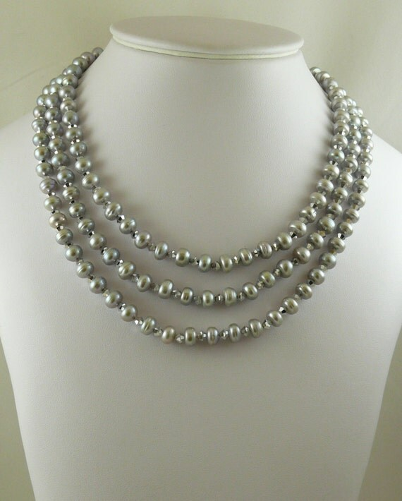 Freshwater Gray Pearl Nested Necklace with Austrian Crystal and Sterling Silver