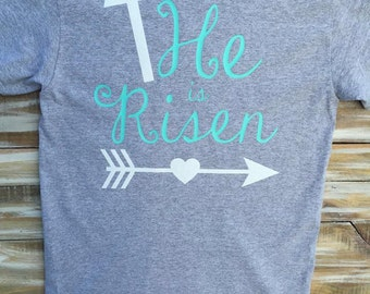 He is Risen Religious Easter Glitter Custom Monogram Shirt