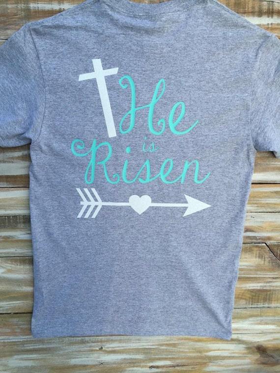 He is risen religious easter glitter custom monogram shirt for Heat pressed t shirts
