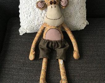 Monkey stuffed animal plush-kids baby babyshower nursery decor present baby toddler stuffed monkey soft monkey