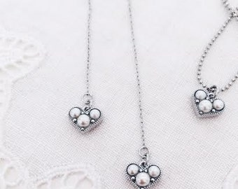 Silver heart pearl charm  threaded earrings / Ask to replace steel earrings with invisible clips !!