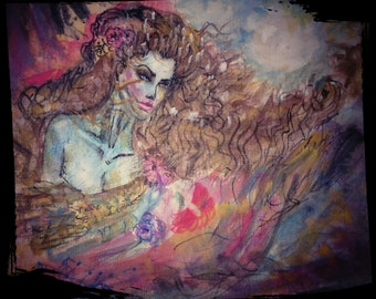 Watercolor painting,,Mystic dream whisper,,apstract art