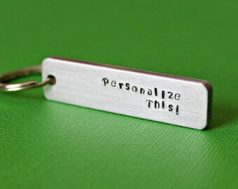 Personalized Keychain, Custom Keychain, Stamped Keychain, Personalized Keyring, Hand stamped keychain, Gift under 20