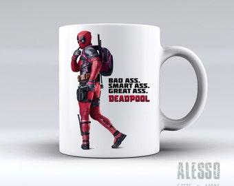 DEADPOOL inspired MUG. Personalised Marvel Deadpool coffee/tea mug. Custom name X-Men/Avengers movie inspired gift. Replica. Nerd geek love