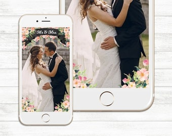 INSTANT DOWNLOAD, Mr. and mrs. Floral Wedding Snapchat, Snapchat filter wedding, Wedding snapchat, Newlywed, Bride groom geofilter, Snapchat