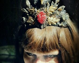 Gothic Crystal Crown Raven Skull Anatomical Heat Cameo Genuine Tibetan Quartz Crystals Vintage Glass Brass Tiara