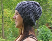 RESERVED FOR ASHLEY *** Gray Slouchy Hat - Grey Vegan Chunky Knit Tam Beanie