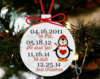 Our first Christmas personalized ornament important dates penguin ornament PIDCO