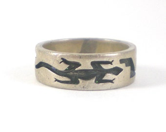 Lizard Ring Sterling Silver Band Size 6 Boho Hippie Vintage Animal Geckos Salamander