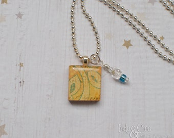 Abstract Leaves Scrabble Necklace, Handmade Scrabble Tile Abstract Art Pendant, Wood Pendant, Wire Wrapped Bead Dangle, Bead Charm, Upcycled