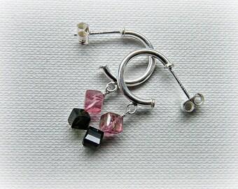 Cube studs, tourmaline earrings, silver hoop earrings small, pink green tourmaline earrings, tourmaline cubes, October birthstone earrings