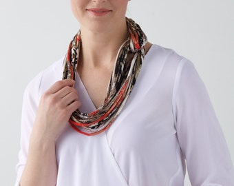 Red Infinity Scarf, Gold, Scarf Necklace, Loop Scarf, Circle Scarf, Mother's Day Gift