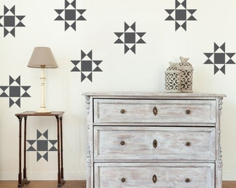 Quilt Wall Art, Country Home Decor, House Warming Gifts, Nursery Wall Decals, Apartment Wall Decor, Office Wall Decor, Geometric Wall Decal