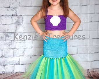 Mermaid Tutu Dress With Real Shell Clip and Red Daisy Hair Clip - Girl's Sizes 4 to 10