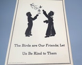 Children & Birds Silhouette Poster, Child Guidance Teachers Aid Poster, Child's Room Decor