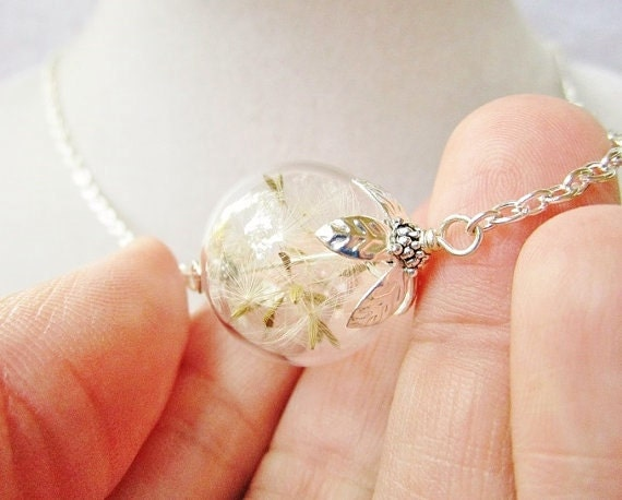 Dandelion Seed Filled Glass Orb Terrarium Necklace in Siler or Bronze, Small Blown Glass Orb, Bridesmaids Gifts