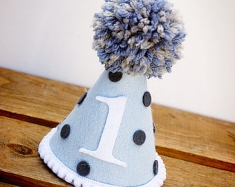 Boys First Birthday Hat, Polka Dot Birthday Hat,First Birthday Hat, Birthday Hat, Felt Birthday Hat, Party Hat:  Grey Sprinkles