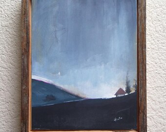 Black and white abstract painting - abstract landscape painting -  acrylic painting -  barn painting - farmhouse - canvas panel 9x12