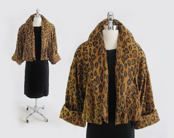 Vintage 80's / 50's Inspired Leopard Suede Cropped Swing Trapeze Coat Jacket Bolero S M