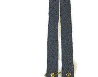 TOP of Lanyard Medium grey cotton regular length with gold tone hardware