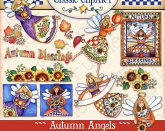 Autumn Angels, Digital Art, fall clipart, paper crafts, angels, fall colors, scrapbooking, fall digital art, Laurie Furnell Designs, pumpkin