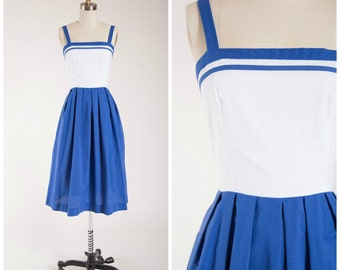 1960s Vintage Dress • Boardwalk in Spring • Blue White Cotton Vintage 60s Dress by Lanz Size Small