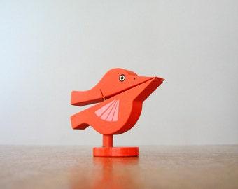 Vintage Mid Century Takahashi Wooden Bird Paper Holder