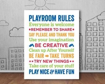 Playroom Rules Art, Playroom Decor, Childs Room Decor, Art for Playroom