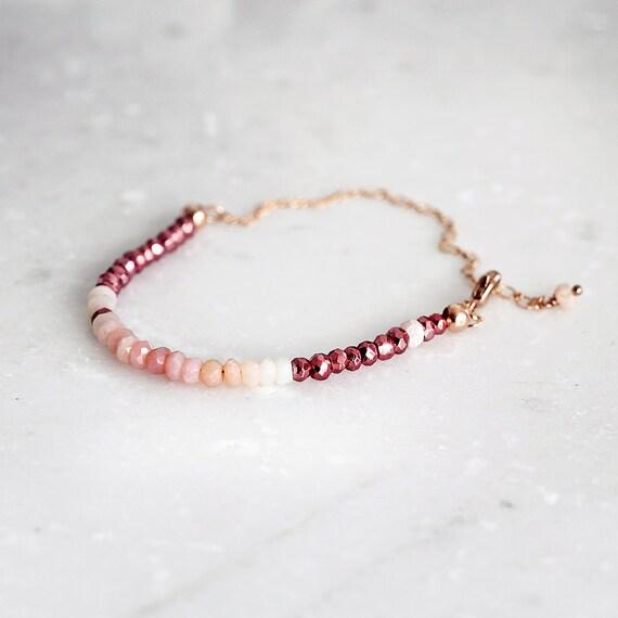 Pink Opal Bracelet - Dainty Gemstone Bracelet