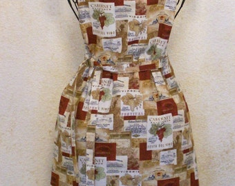 Wine Apron - Handmade Wine Label Full Adult Chef Apron - Women's Kitchen Apron Small to Plus Size - French & Italian Labels on Cotton Fabric