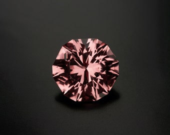 Malaya Garnet: 1.96ct Pink Peach Padparadscha Round Shape Gemstone, Natural Hand Made Custom Cut Faceted Gem, Loose Precious Mineral 20917