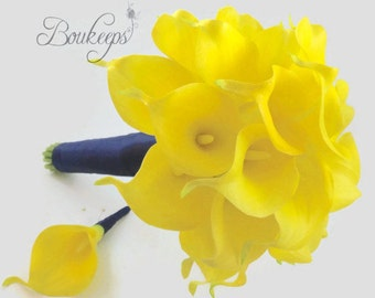 CHOOSE RIBBON COLOR - Calla Lily Bouquet, Bridal Bouquet, Yellow Calla Lily, Yellow Bridal Bouquet,  Yellow Calla Lily Bouquet, Bridesmaid
