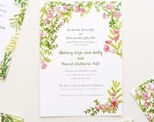 Rose and Fern custom Wedding Save the Date, invitation, RSVP and Rehearsal Dinner invitation