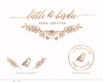 Brand Package with Logo, Stamp design and Graphics - Rose Gold Foil Srcipt Logo Hand Drawn Bird & Wreath Design