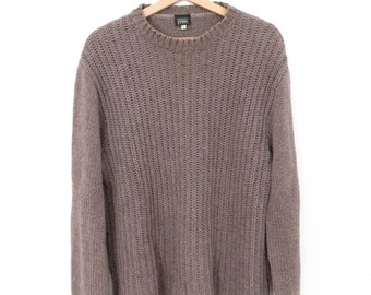 GIANFRANCO FERRE Brown Cotton Wool and Acrylic Mix Made in Italy Crewneck Sweater, sz. L