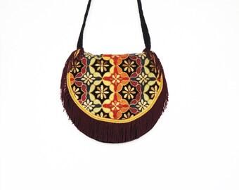 Hippie fringed crossbody bag, Bohemian tapestry bag, shoulder bag, gypsy bag,