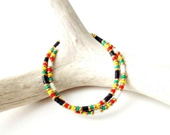 Rasta Bracelet African Vinyl Bead Bracelet - Rasta Colors / Red Yellow Green - Rastafarian Jewelry Hippie Jewelry Tribal Jewelry Reggae