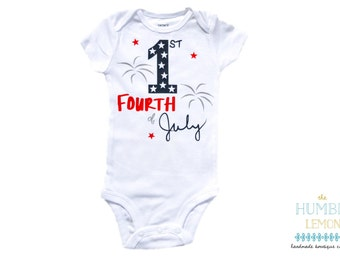 First Fourth of July Baby Girl or Baby Boy Patriotic Red, White and Blue Bodysuit Outfit