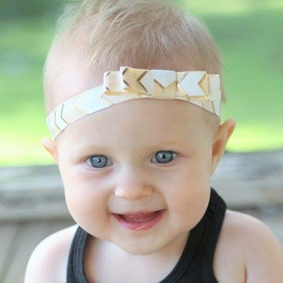 Gold Bow Headband, Gold Color Headband, Bow Headpiece, Newborn Headbands, Headbands For Babies, Infant Headbands, Bow Toddler Headband