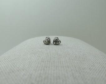 Vintage Silver Filigree Heart Earring Studs