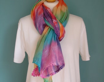 Tie dye scarf in a spiral design, sarong scarves.