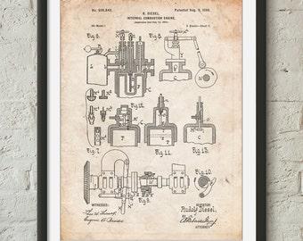 Diesel Engine 1898 Patent Poster, Diesel Mechanic, Garage Decor, Car Part Art, Mechanic Gift, PP0257