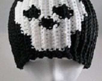 Crochet Black Skeleton Skull Skully Beanie Stocking Cap Hat - Men, Women, Teens and Kids - Pattern Only