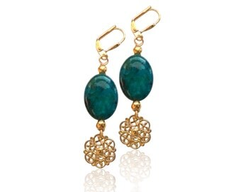 Teal green azurite gemstone gold earrings,Dark green drop earrings, Marbled gemstone and gold charm earrings, Rustic jewellery, Gift for her