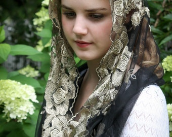 Evintage Veils~ Lovely Gold & Black Embroidered Infinity Veil~  Soft and Light!